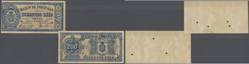 Portugal: 200 Reis 1891 Proof P. 63(p), consisting of 2 pieces, front and back s...