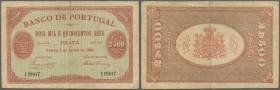 Portugal: 2500 Reis 1891 P. 67, rare issue, horizontal and vertical fold, 1 cm tear at upper border caused by the center fold, no other tears, no hole...