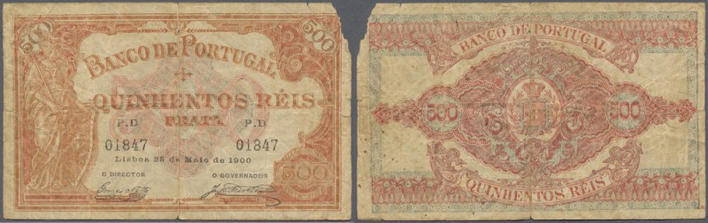 Portugal: 500 Reis 1900 P. 72, strong center fold, missing part at upper right c...