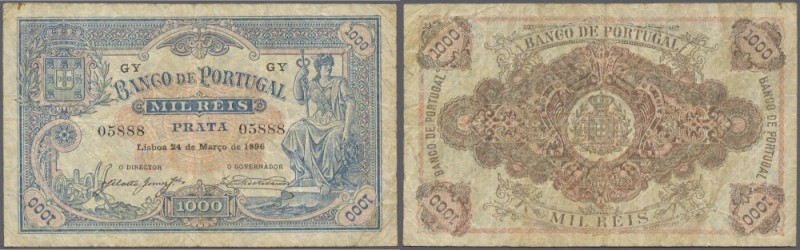 Portugal: 1000 Reis 1896 P. 73, folds, creases in paper, no holes or tears, orig...