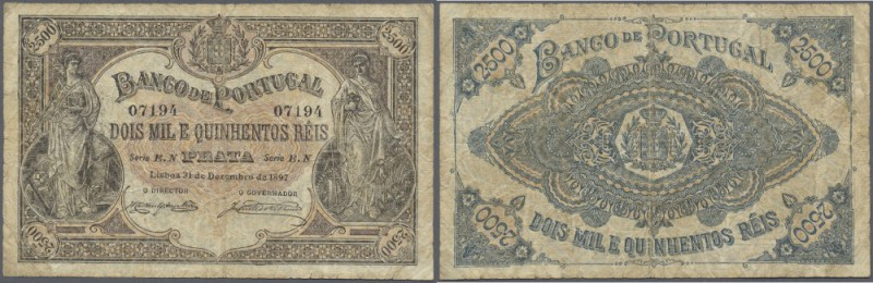 Portugal: 2500 Reis 1897 P. 74, very rare issue, folded, a bit stained paper, on...