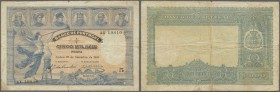 Portugal: 5000 Reis 1901 P. 80, very rare issue, folded, stains at borders and on back, a 2mm tear at upper border caused by center fold, not repaired...