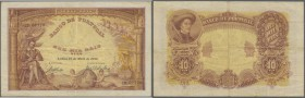 Portugal: 10.000 Reis 1908 P. 81, beautiful note, vertical and horizontal fold, handling in paper, one hole left center but no tears, not repaired, ve...