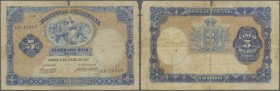Portugal: 5000 Reis 1907 P. 83, strong center fold, stained paper, a broad tear (5mm long) at upper border caused by center fold, border wear at right...