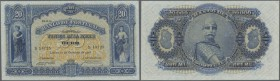 Portugal: 20.000 Reis 1906 P. 84, beautiful and rare note, one light center fold and a light dint at lower right corner and one very very tiny pinhole...