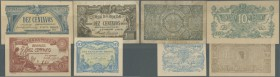 Portugal: set of 4 small size notes containing 10 Centavos 1917 P. 93 (F+), 10 Centavos 1917 P. 94a (UNC), 10 Centavos 1917 P. 95 (aUNC), 10 Centavos ...