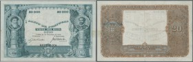 Portugal: 20.000 Reis 1909 P. 109, beautiful and rare note with nice design, vertically and horizontally folded, a very tiny center hole, 5mm tear at ...