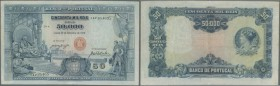 Portugal: 50.000 Reis 1910 P. 110, center fold, 2 tiny parts at the end of the center fold (upper and lower border) are professionally repaired, proba...