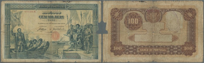 Portugal: 100.000 Reis 1908 P. 111, rare note in well used condition with center...