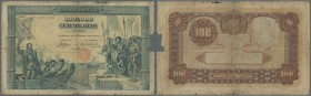 Portugal: 100.000 Reis 1908 P. 111, rare note in well used condition with center hole, folds, border wear, staining in paper, missing part at right bo...