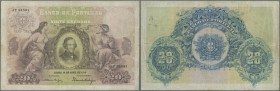 Portugal: 20 Escudos 1915 P. 115a, folded vertically and horizontally, 3 border tears (2x 5mm, 1x 1cm), no holes, not repaired, still strong paper and...