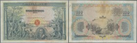 Portugal: 100 Escudos 1920 P. 116, beautiful large size note, traces of stain at upper border in the area of a 1,5cm tear (along center fold), probabl...