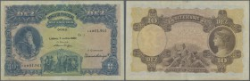 Portugal: 10 Escudos 1920 P. 117 in nice condition with only a center fold and a vertical fold at left border, slight staining of the paper but withou...