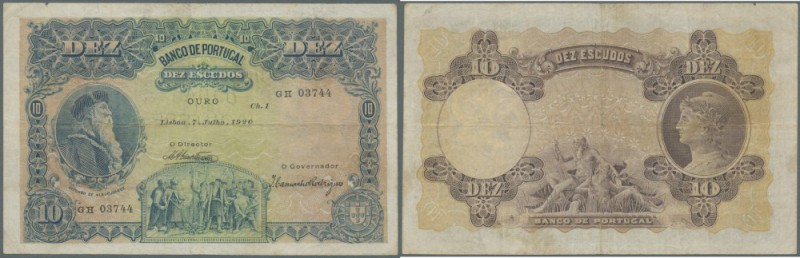 Portugal: 10 Escudos 1920 P. 117, horizontal and vertical folds, 2 border tears ...