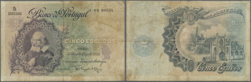 Portugal: 5 Escudos 1922 P. 120 in used codition with stained paper and several ...