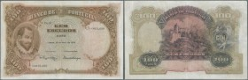 Portugal: 100 Escudos 1926 P. 124, vertically and horizontally folded, several repairs throughout the note, at each (where the folds end) and in cente...