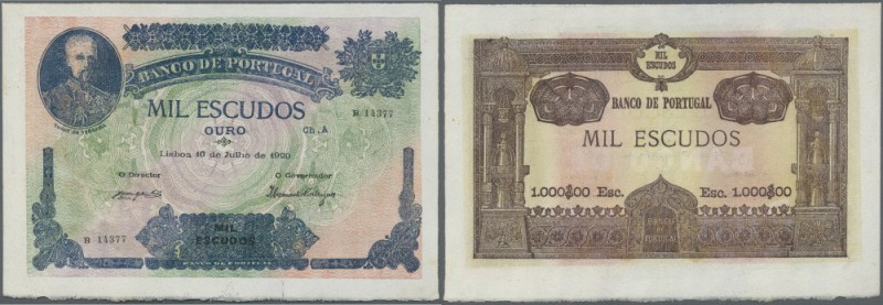 Portugal: 1000 Escudos 1920 P. 125, highly rare banknote with only a light cente...