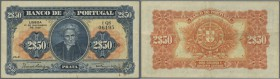 Portugal: 2,5 Escudos 1922 P. 127, light center and horizontal fold, rusty paper clip trace at lower right, no holes, no tears, crisp original paper a...