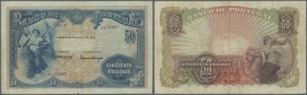 Portugal: 50 Escudos 1922 P. 128, a large size beautiful rare note with center fold, one 2mm tear at lower border along the center fold, normal light ...