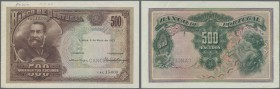 "Portugal: 500 Escudos 1922 Specimen P. 129s, with ""Cancelled"" perforation, printers annotan on top, corner fold at right, creases at left, strong cris..."