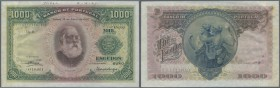 "Portugal: 1000 Escudos 1926 Specimen P. 131s, a rare and beautiful banknote with ""Cancelled"" perforation, printers annotation on top border, folds due..."