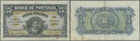Portugal: 5 Escudos 1925 P. 133, folds, stain dot at lower right, no holes or tears, condition: F.