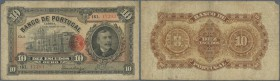 Portugal: 10 Escudos 1925 P. 134 in stronger used condition with stonger folds, stained paper and a small missing part at upper left corner. Colors ar...