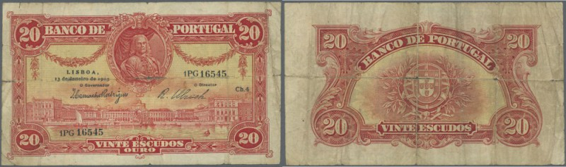 Portugal: 20 Escudos 1925 P. 135, strong horizontal fold, center hole, strong ve...