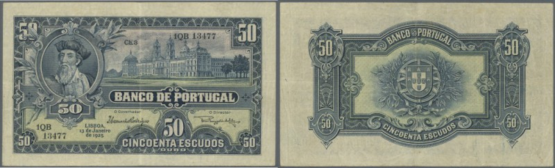 Portugal: 50 Escudos 1925 P. 136, center and horizontal fold, light handling in ...