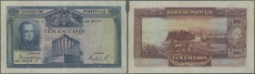 Portugal: 100 Escudos 1928 P. 140 in used condition with a center fold and some creases in paper but no holes or tears. A small paper damage at upper ...