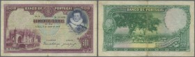 Portugal: 500 Escudos 1928 P. 141, very rare banknote, center fold (stronger visible on back), 3 tiny 2mm border tears, small piece of transparent tap...