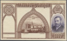 Portugal: 1000 Escudos 1927 Proof of P. 142, uniface print on banknote paper, condition: XF+.