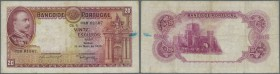 Portugal: 20 Escudos 1938 P. 143 in used condition with several folds and light stain dots in watermark area, ink trace at right border, a stronger ce...