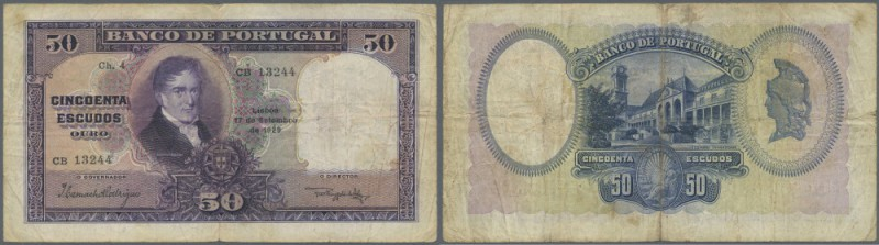 Portugal: 50 Escudos 1929 P. 144, center fold and handling in paper, normal trac...