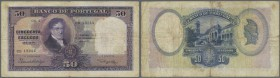 Portugal: 50 Escudos 1929 P. 144, center fold and handling in paper, normal traces of use, light staining due to use, no holes or tears, original pape...