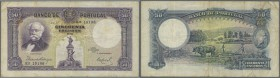 Portugal: 50 Escudos 1932 P. 146, center fold and several smaller folds, light staining at upper left corner and on back, no holes or tears, not repai...
