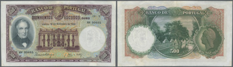 Portugal: 500 Escudos 1932 P. 147, a real beauty, rare as issued note, professio...