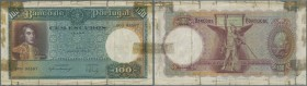 Portugal: 100 Escudos 1941 P. 150, well used note with many border tears and tapes at borders, colors still nice, condition: VG.