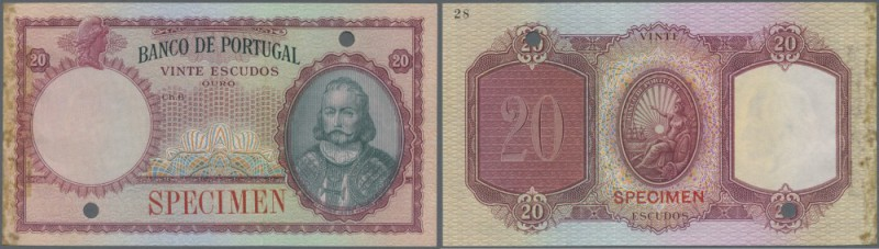 Portugal: 20 Escudos ND Color Trial P. 153ct in red instead of green color, neve...