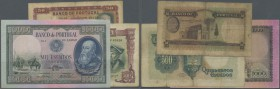 Portugal: set of 3 different banknotes containing 50 Escudos 1947 P. 154 (F-), 500 Escudos 1942 P. 155 (F), 1000 Escudos 1942 P. 156 (XF). Nice set. (...