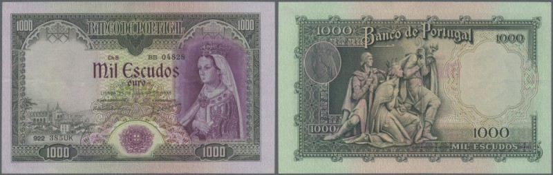 Portugal: 1000 Escudos 1956 P. 161, only very sligh vertical and horizontal fold...