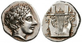 Macedon, Chalkidian League, 420-392 BC. AR Tetradrachm. (14.35 g, 25.88 mm 12h)