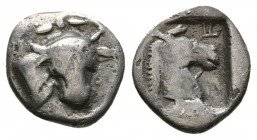 Thessaly. Perrhaebi 462-460 BC. AR Obol (0.75 g. 9.9 mm). 