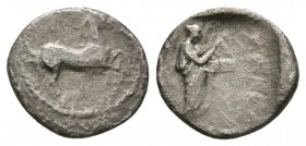 THESSALY, Trikka. 2nd half of the 5th century BC. AR Obol (0.8g 10.4mm). 