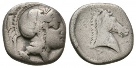 THESSALY, Pharsalos. Late 5th-mid 4th century BC. AR Hemidrachm (2.75g 14.3mm). 