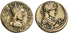 Kings of Bosporus. Rhescuporis II, with Elagabalus. AD 211/2-226/7. EL Stater (7.6 g, 19.27 mm). 