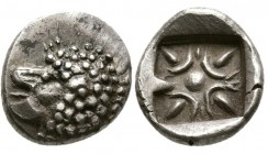 Ionia, Miletos.Circa Late 6th-early 5th century BC. AR Obol (1.05 g. 10.68 mm)