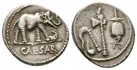 Julius Caesar. April-August 49 BC. AR Denarius (4.0 g,18.44 mm). Military mint traveling with Caesar. Elephant advancing right, trampling on horned se...