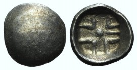 Eastern Europe, imitating Parion, 5th century BC. AR Drachm (12mm, 1.55g). [Gorgoneion]. R/ Linear pattern within incuse square. Topalov 56-57 (Odrysa...