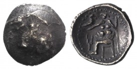Celtic, Eastern Europe, c. 3rd-2nd century BC. AR Drachm (17mm, 3.66g, 12h). Imitating Alexander III of Macedon. Head of Herakles r., wearing lion ski...